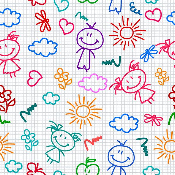 Фон нарисованный цветными карандашами