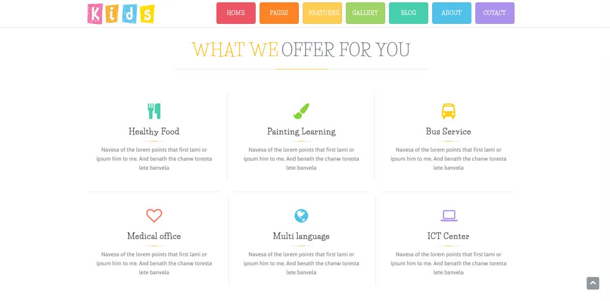 WordPress шаблон начальная школа раздел чему мы обучаем