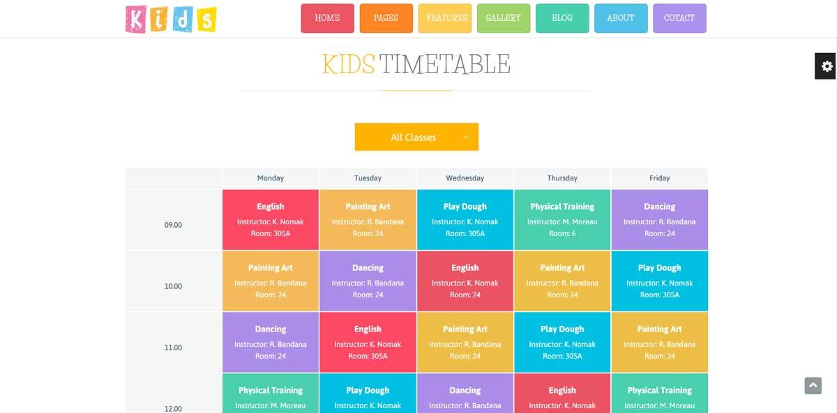 WordPress шаблон образавние расписание уроков и питания в школе