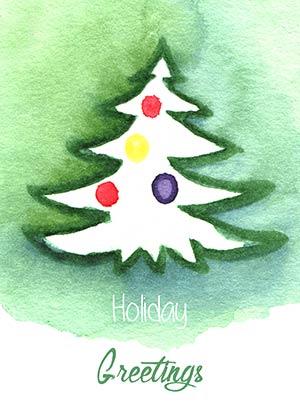 Рождественская акварель Карточка 1