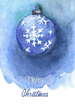 Рождественская акварель Карточка 2