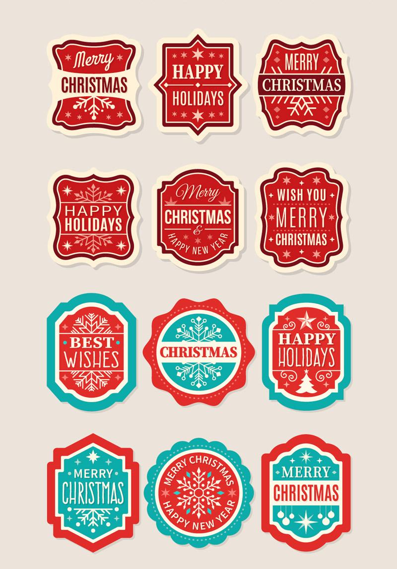 Скачать набор Рождественские этикетки, лейблы