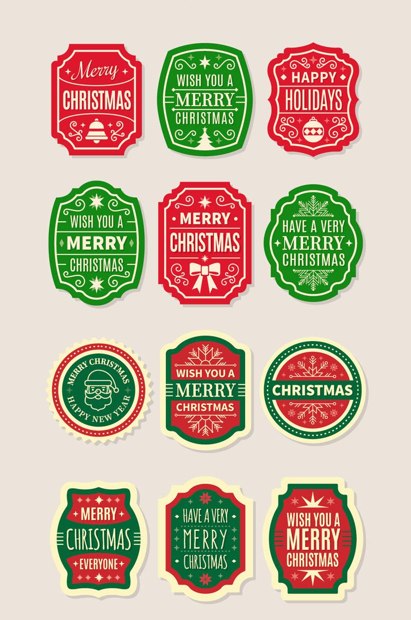 Скачать набор Рождественские этикетки