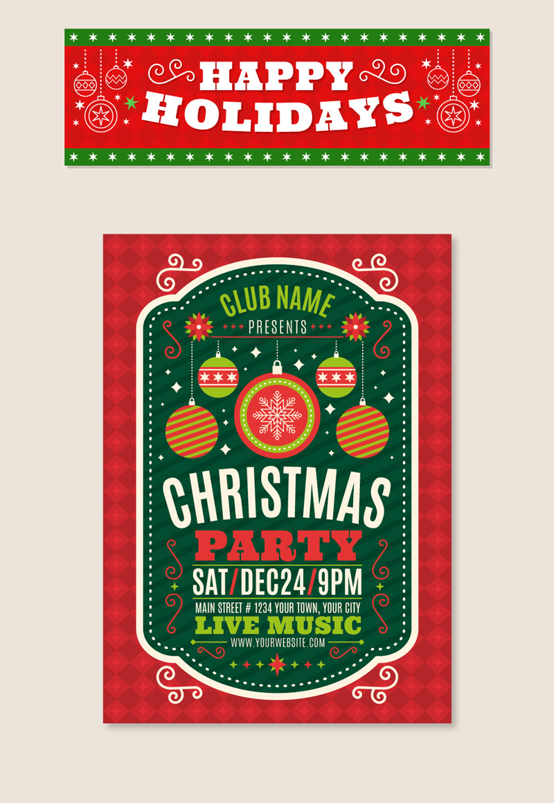 Скачать набор Рождественские баннеры и плакаты