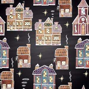 Бесшовный фон зимние Рождественские домики