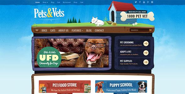 Pets-Vets - WordPress шаблон для магазина, ветеринара или дрессировки домашних животных