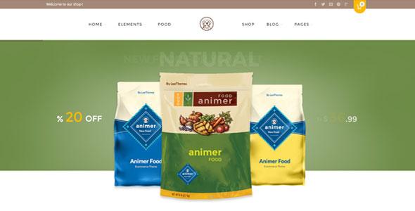 Animer - шаблон WordPress Woocommerce по продаже кормов для животных.