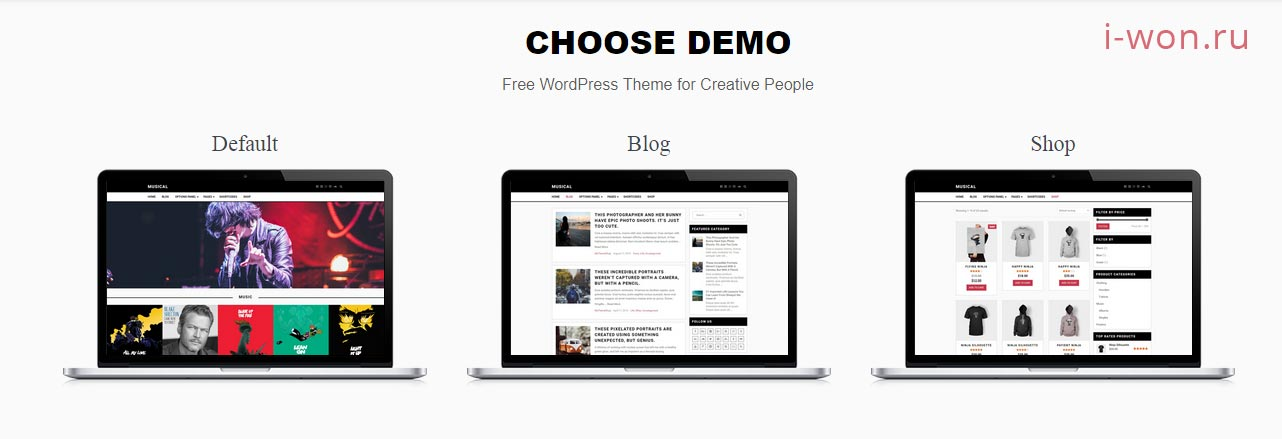 Демо - бесплатного музыкального WordPress шаблона - Musical