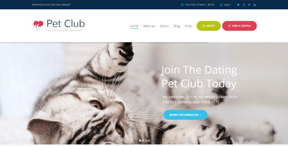 Pet Club Dating - шаблон для сайта знакомств домашних животных на WordPress