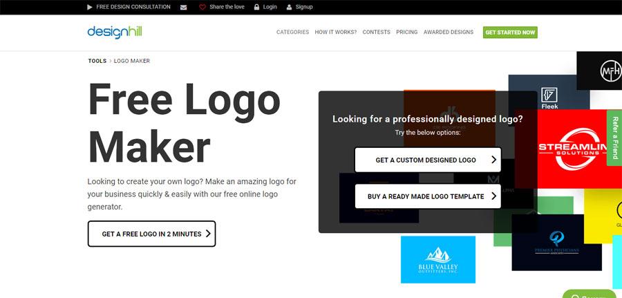 DesignHill вы можете самостоятельно сконструировать свой логотип
