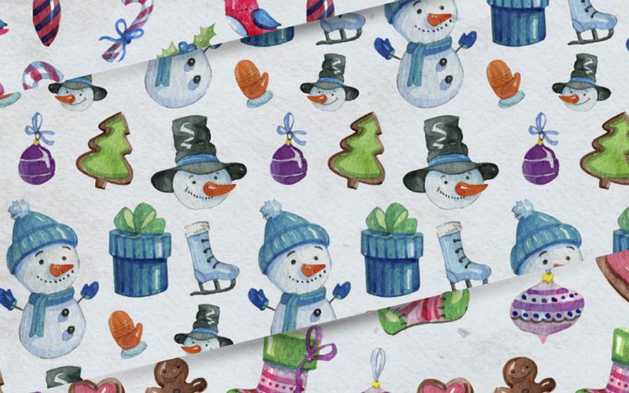 Рождественские акварельные паттерны и фоны