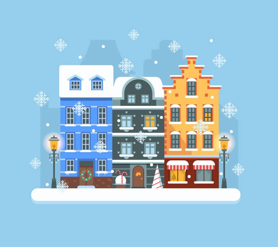 Как создать сцену зимнего города в Adobe Illustrator