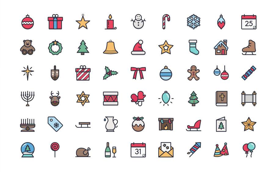 Тонкие новогодние иконки