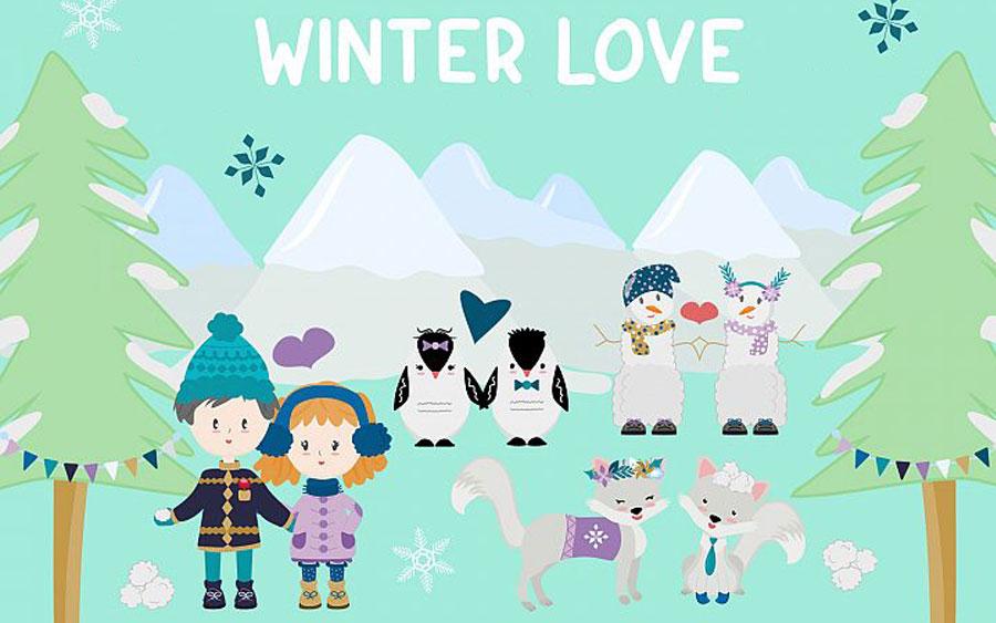 Зимняя векторная графика и праздничный фон