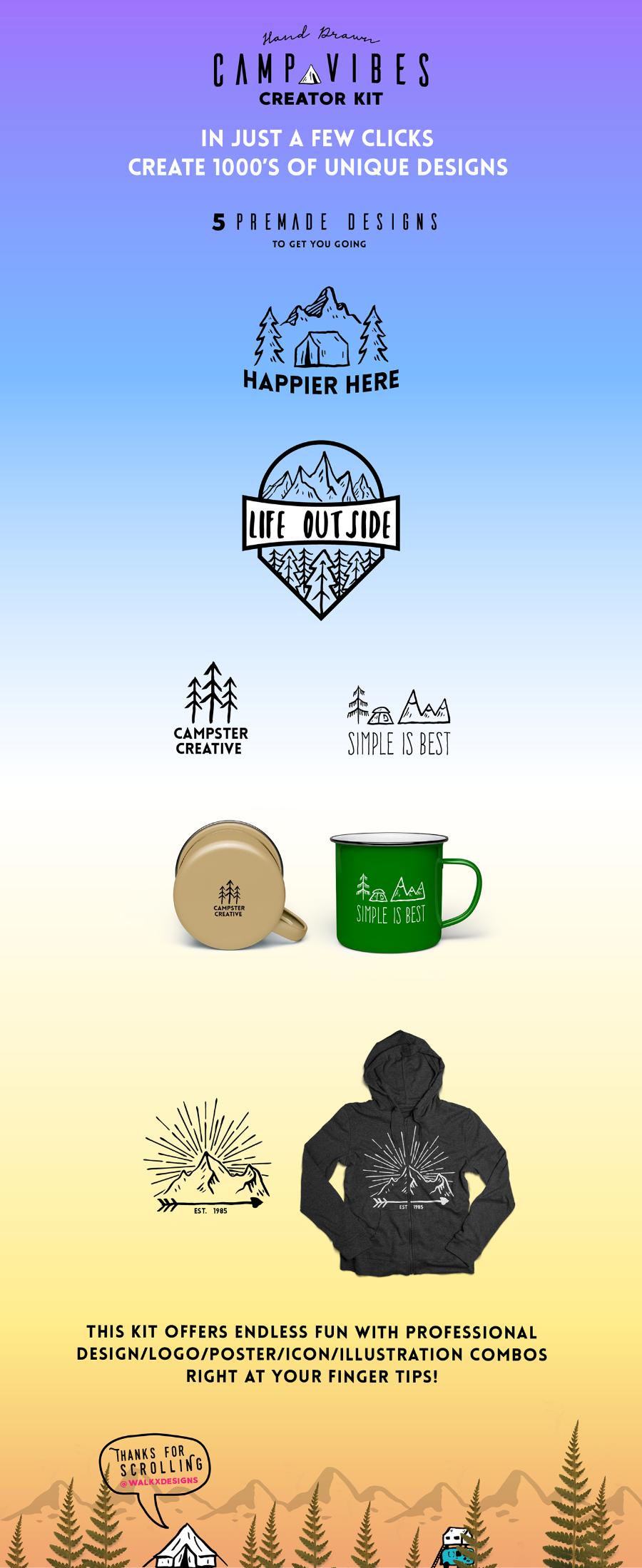 Логотипы отдых на природе, рыбалка