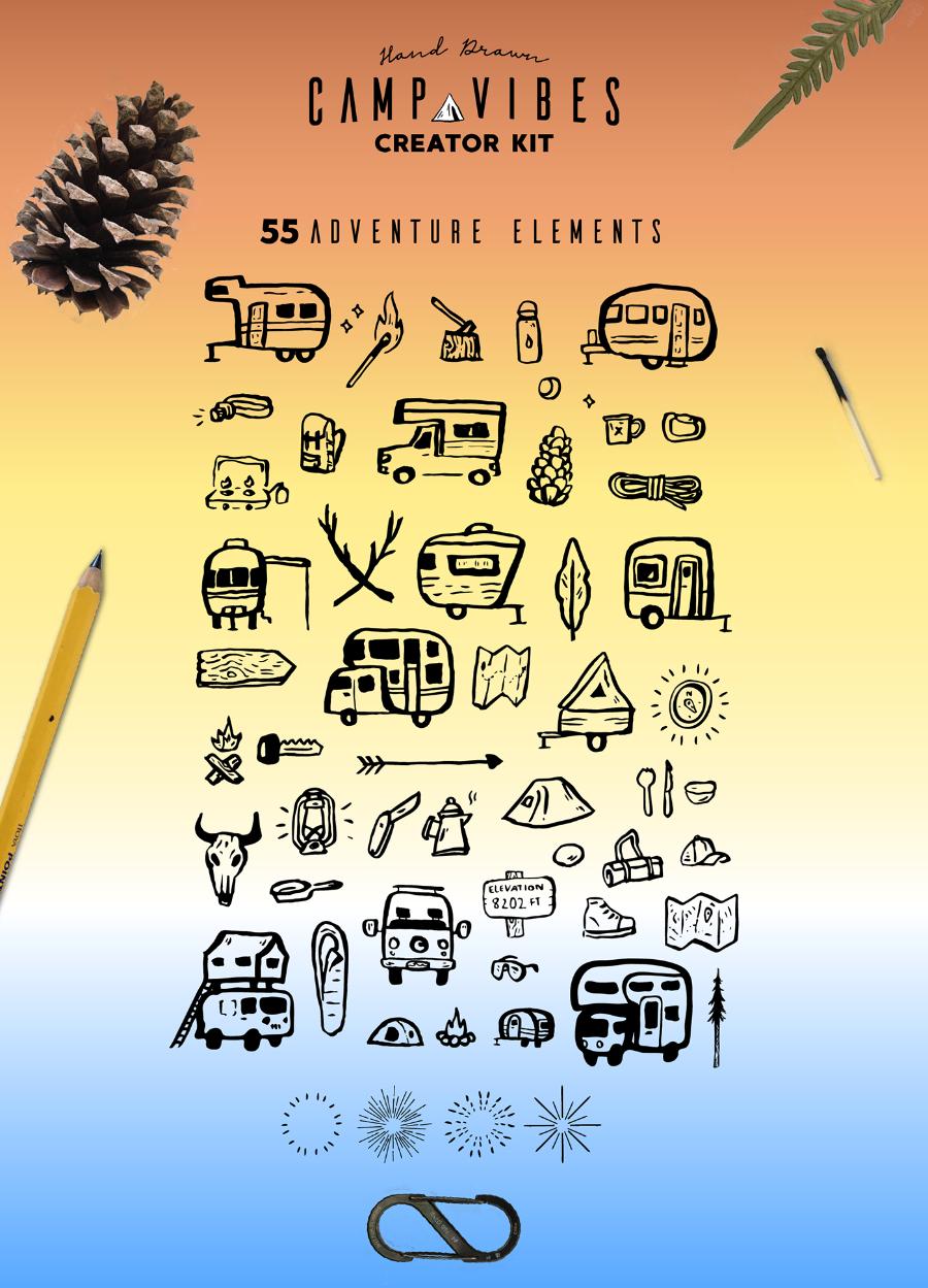 Логотипы отдых на природе, туризм 1 часть
