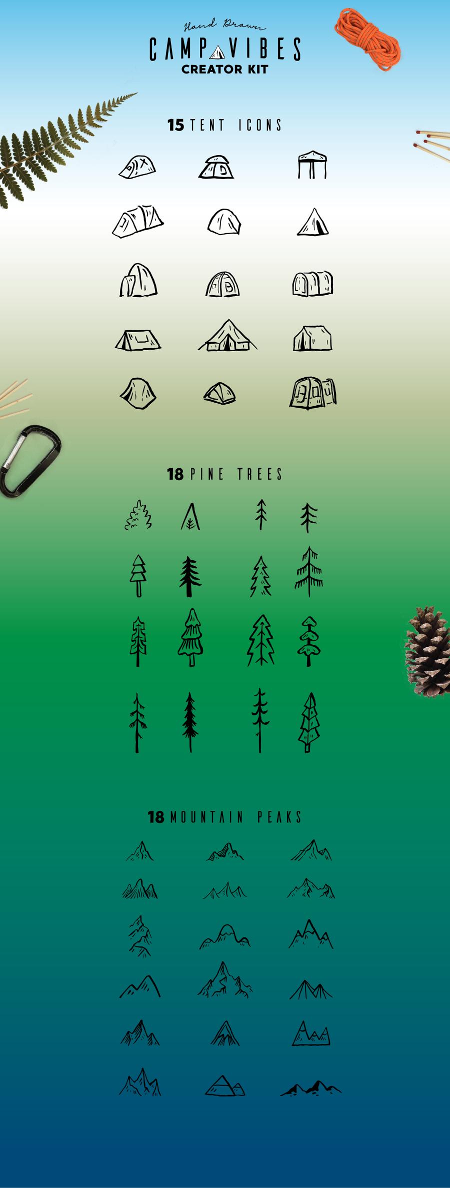 Логотипы отдых на природе, туризм, лесное хозяйство