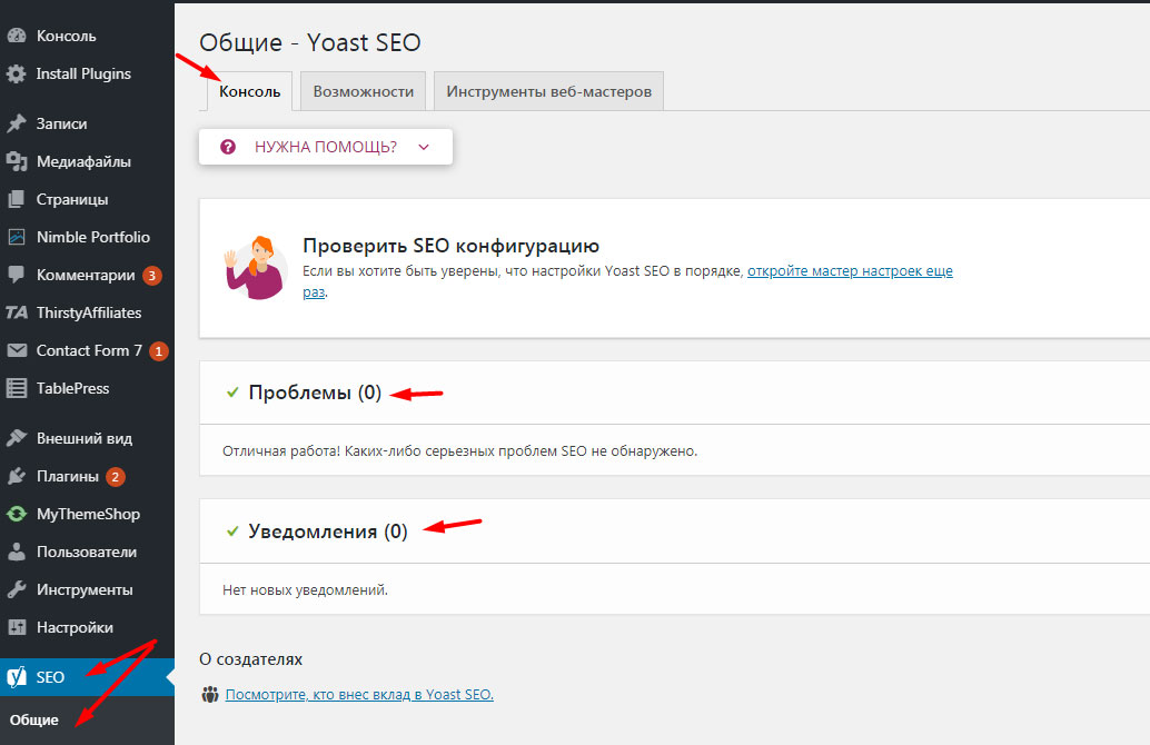 Настройка Seo плагин wordpress Yoast - Общие - Консоль