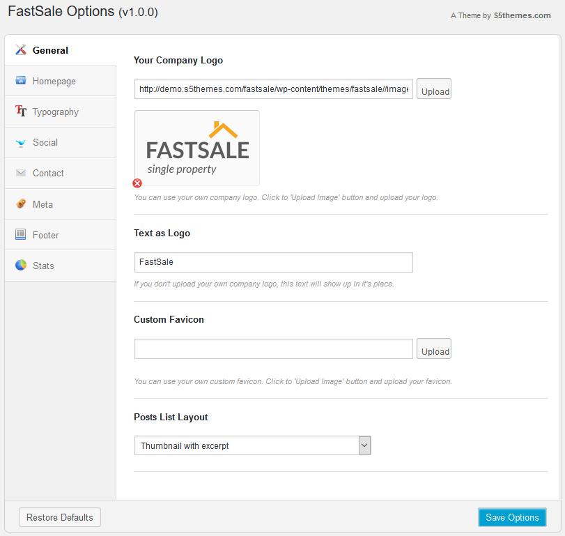 Панель настроек одностраничного WordPress шаблона FastSale