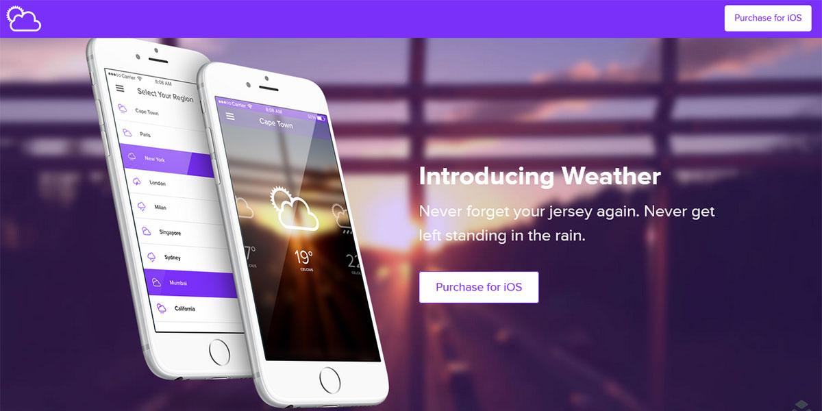 Одностраничный WordPress шаблон на слоях Weather