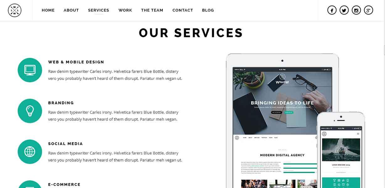 Многоцелевой, одностраничный WordPress шаблон — Willow