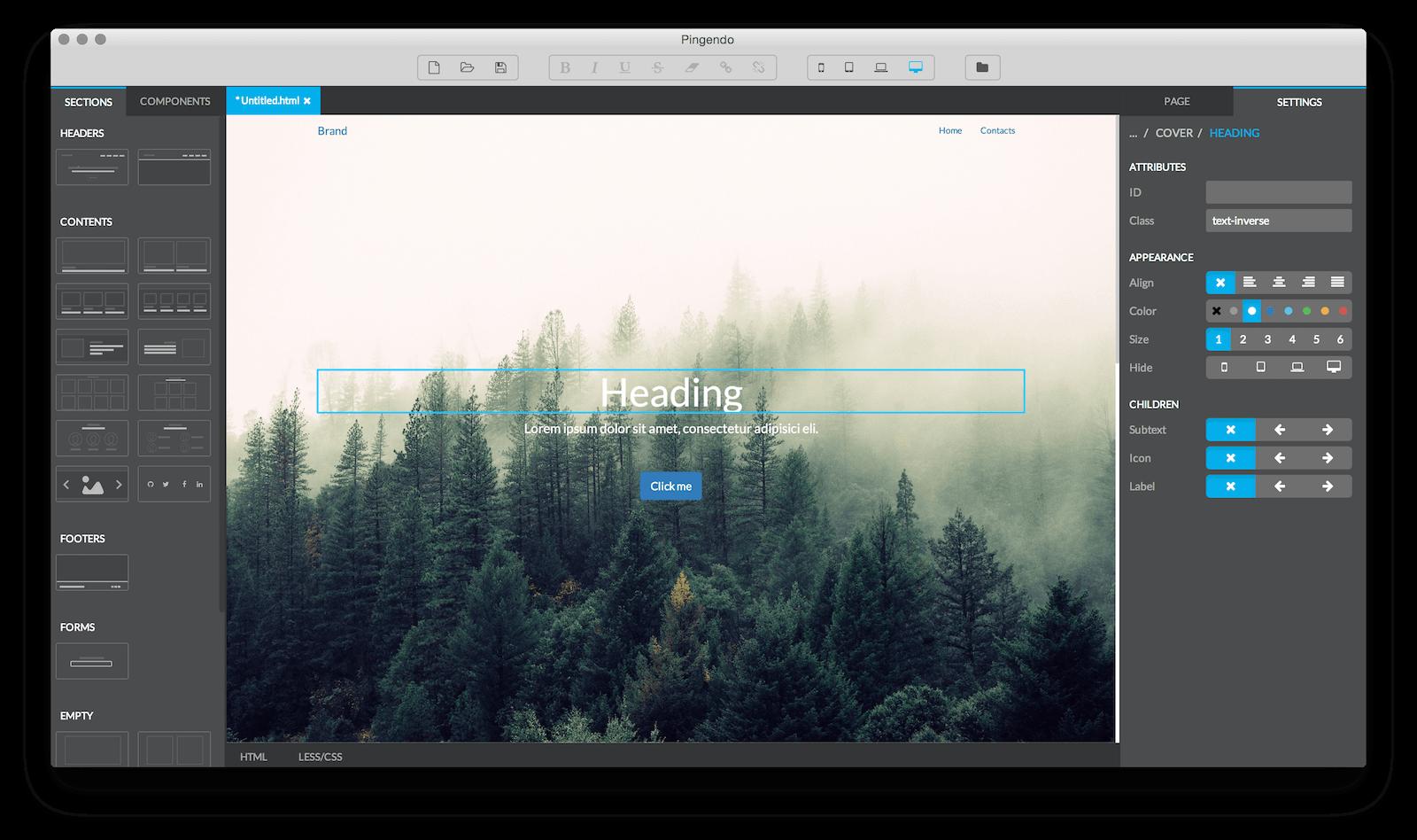 Скрин окна программы Pingendo