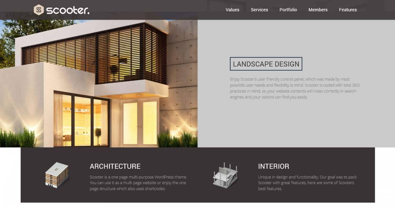 WordPress шаблон одностраничника архитектура и дизайн интерьеров — Scooter WP