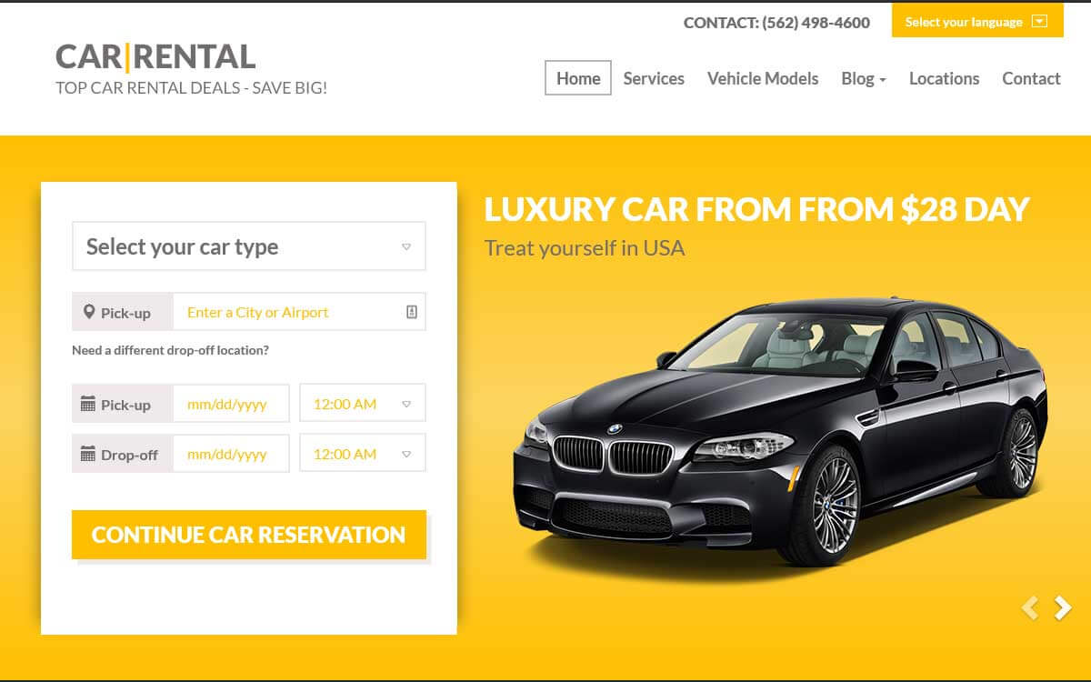 Шаблон Landing Page прокат автомобилей