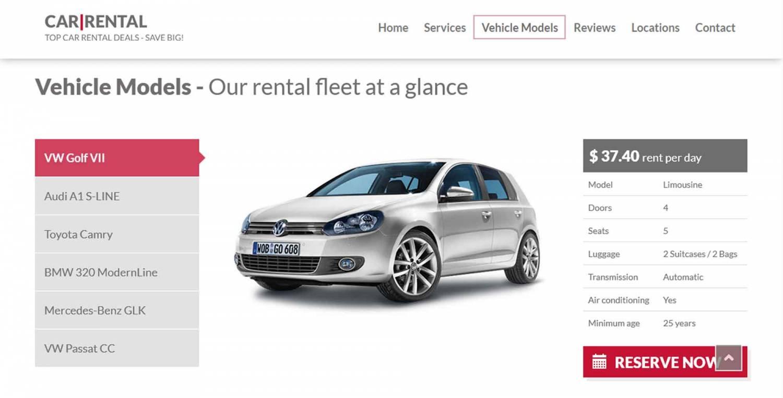 Лендинг прокат авто — шаблон Car Rental