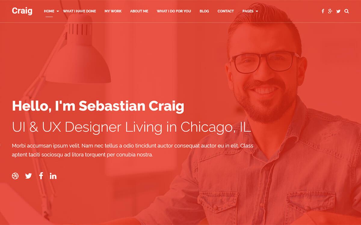 Шаблон портфолио или персональной Landing Page — Craig