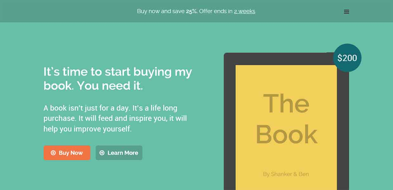 Шаблон Landing Page для электронной книги — TheBook
