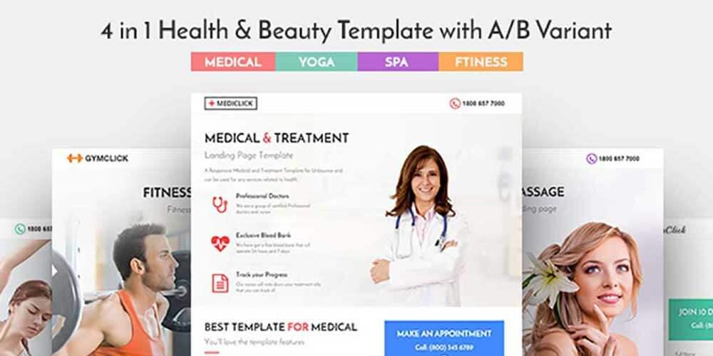 Шаблон Landing Page медицина, спа, фитнес и йога 4 в 1