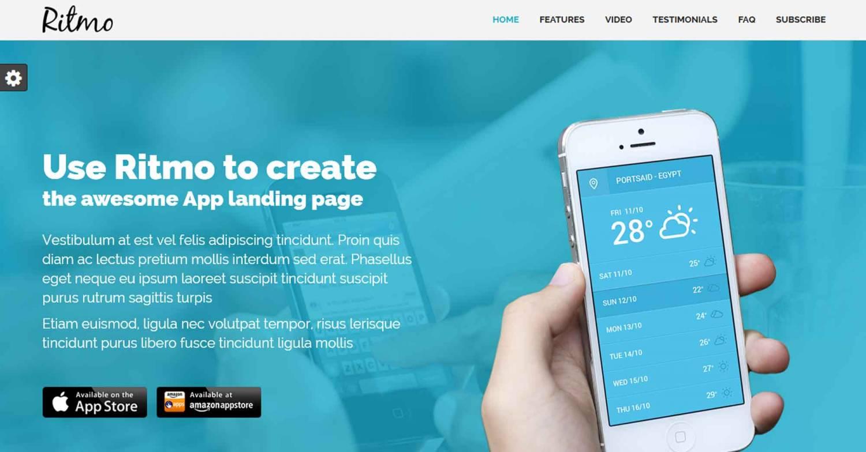 landing page шаблон для мобильных приложений Ritmo