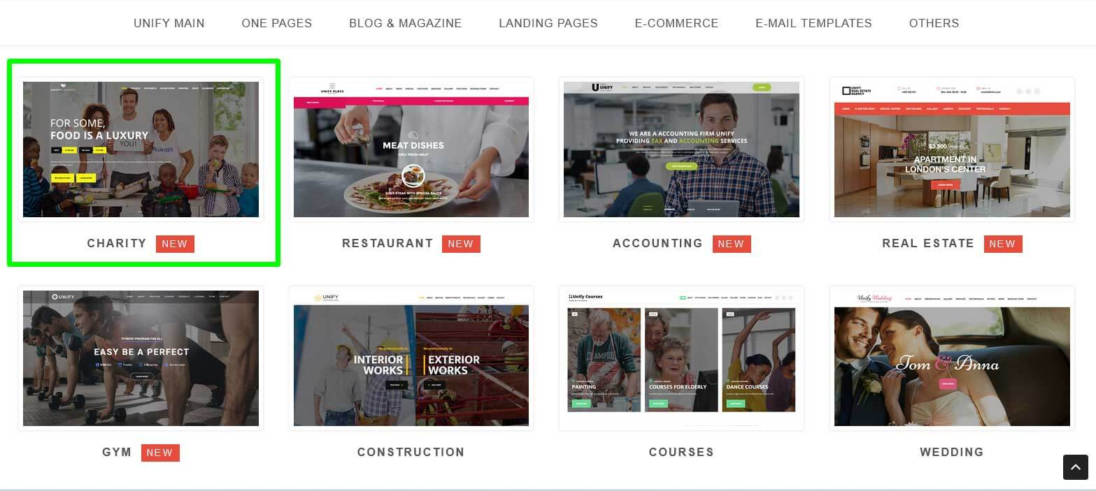 Шаблоны Landing Page Unify