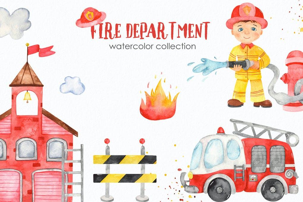 Акварельные фоны маленький пожарник