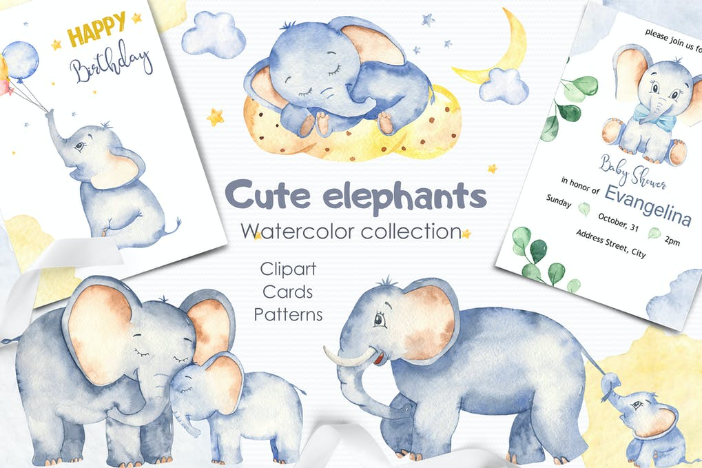 Акварельный фон животные, слоники